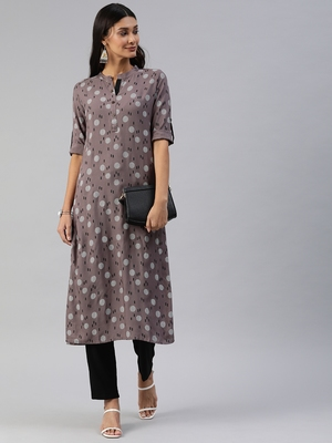 Brown printed viscose cotton-kurtis