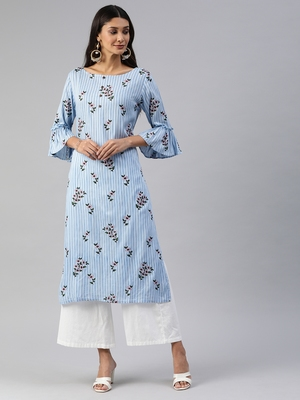 Blue printed viscose cotton-kurtis