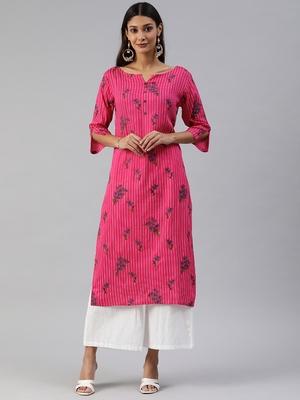 Pink printed viscose cotton-kurtis