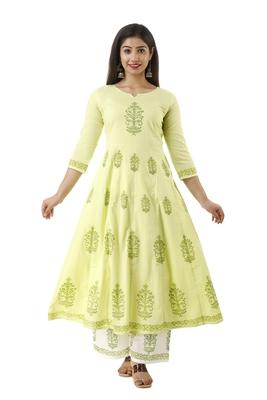 Light-green block print cotton salwar