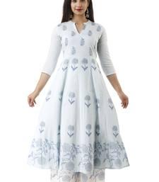 Light-blue block print cotton salwar