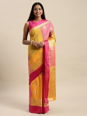 Sangam Prints Pink & Yellow Handloom Silk Woven Work Traditional Saree