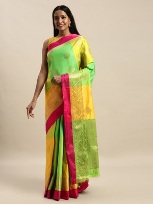 Sangam Prints Green & Yellow Handloom Silk Woven Work Traditional Saree