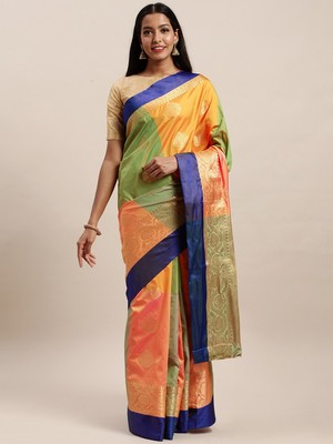 Sangam Prints Multicolor Handloom Silk Woven Work Traditional Saree