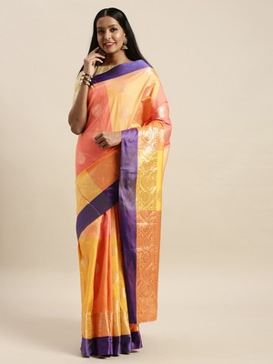 Sangam Prints Orange & Pink Handloom Silk Woven Work Traditional Saree