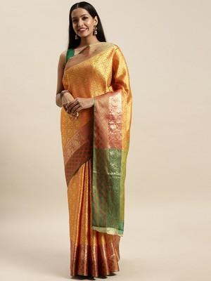 Sangam Prints Mustard Handloom Silk Woven Work Traditional Saree