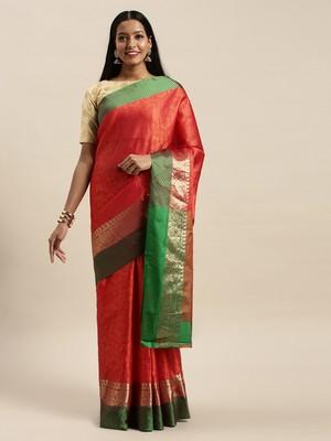 Sangam Prints Orange Handloom Silk Woven Work Traditional Saree