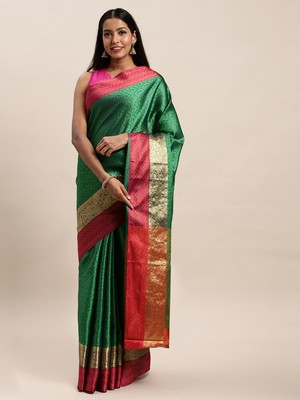 Sangam Prints Green Handloom Silk Woven Work Traditional Saree
