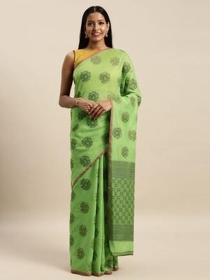 Sangam Prints Light Green Cotton Handloom Zari Work Traditional Saree