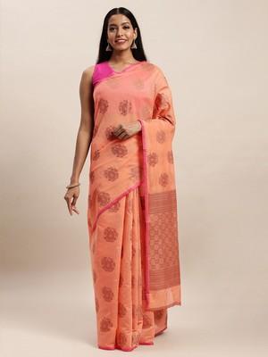 Sangam Prints Peach Cotton Handloom Zari Work Traditional Saree