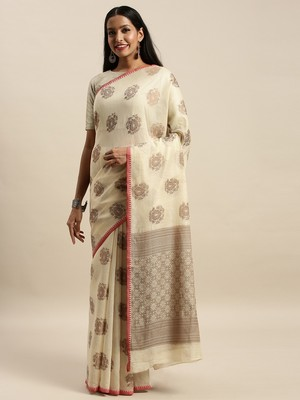 Sangam Prints Beige Cotton Handloom Zari Work Traditional Saree