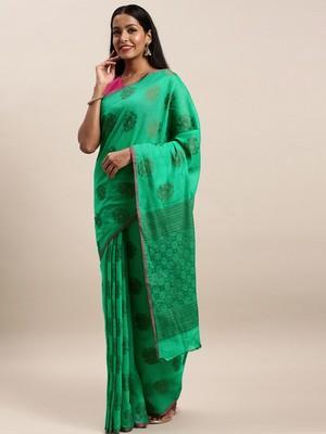 Sangam Prints Green Cotton Handloom Zari Work Traditional Saree