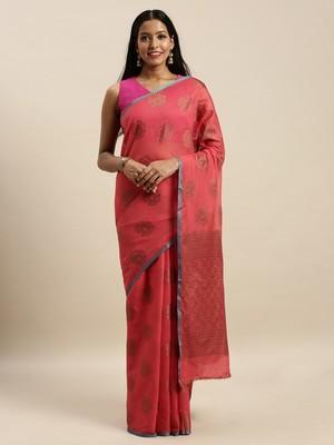 Sangam Prints Red Cotton Handloom Zari Work Traditional Saree