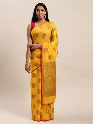 Sangam Prints Mustard Yellow Cotton Handloom Zari Work Traditional Saree