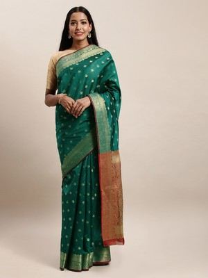 Sangam Prints Green Handloom Silk Jacquard Traditional Saree