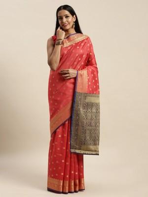 Sangam Prints Pink Handloom Silk Jacquard Traditional Saree