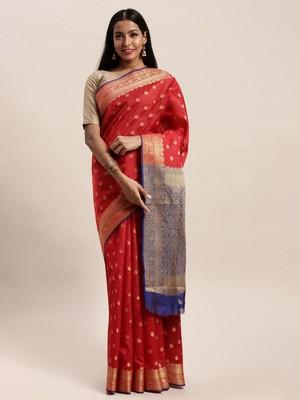 Sangam Prints Red Handloom Silk Jacquard Traditional Saree