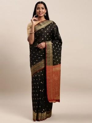 Sangam Prints Black Handloom Silk Jacquard Traditional Saree
