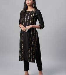 Black printed art silk kurtas-and-kurtis