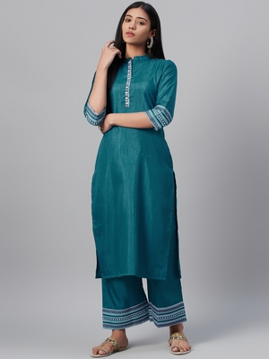 Teal printed art silk kurtas-and-kurtis