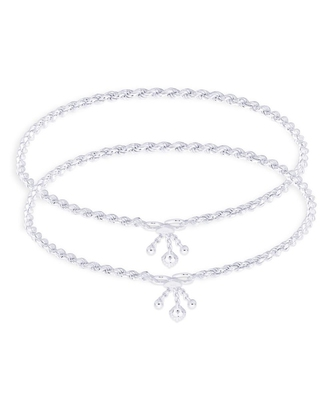 Rope Chain Silver Anklets-ANK071
