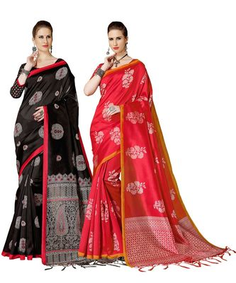 Multicolored Printed Art Silk Saree With Unstitche blouse Piece