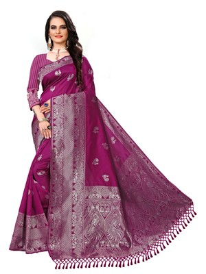 Magenta printed cotton silk saree with blouse