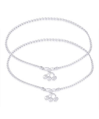 Gleaming Chain Silver Anklets-ANK079