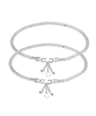 Silver Ethnic Heart Charm Anklet-ANK087