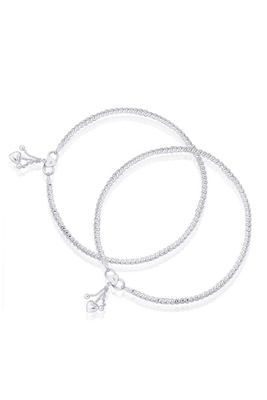 Fine Single Line Silver Anklets-ANK088