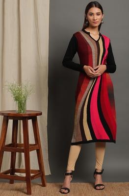 Janasya Women's Multicolor Woolen Kurta