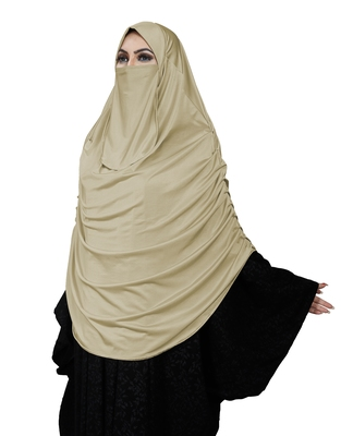 JSDC Women's Namazi Wear Satin Lycra Plain Long Chaderi Abaya Hijab With Naqab & Frills Style