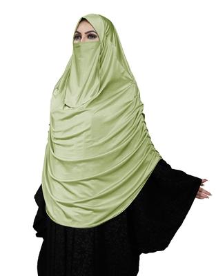 JSDC Women's Occasion Wear Satin Lycra Plain Long Chaderi Abaya Hijab With Naqab & Frills Style