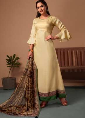 Cream embroidered silk party-wear-kurtis