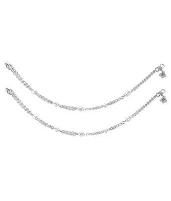 Chain Bead Silver Anklets-ANK102