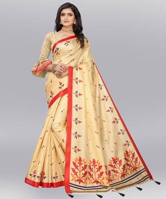 Latest Designer Cotton blend Khadi silk Printed saree with Blouse