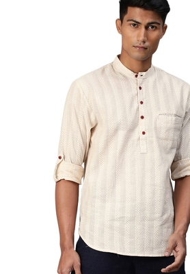 Beige woven pure cotton men-kurtas
