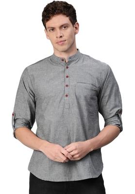 Grey woven pure cotton men-kurtas