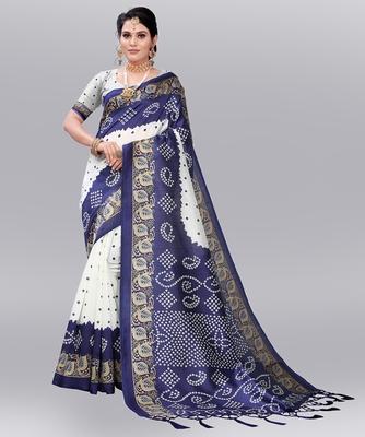 Latest Designer Cotton blend Art silk Bandhani Printed saree with Blouse