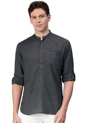 Black woven pure cotton men-kurtas