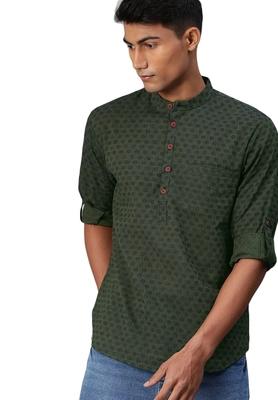 Green woven pure cotton men-kurtas