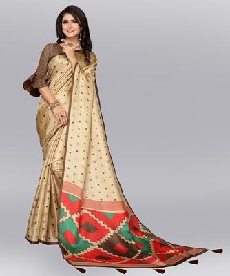 Latest Designer Cotton blend Khadi silk Printed saree with Blouse