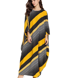 JSDC Women's Striped Printed BSY Korean Material Bat Wing Style Kaftan