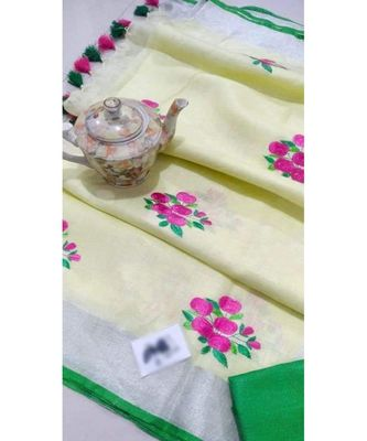 white Handcrafted Linen Saree with embroidery work on the saree