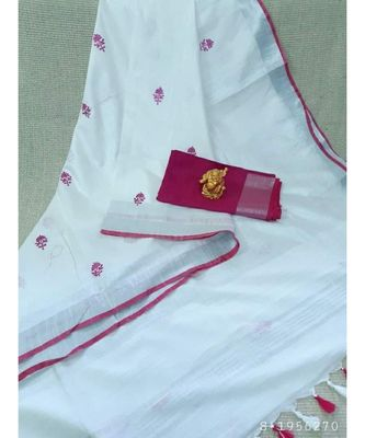 white ?Handcrafted Linen Saree with small flower embroidery work