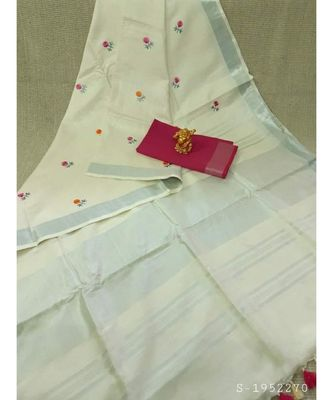 white Handcrafted Linen Saree with small flower embroidery work
