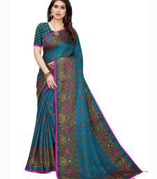Blue printed jute saree with blouse