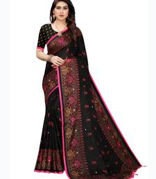 Black printed jute saree with blouse