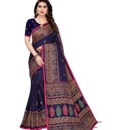 Dark blue printed jute saree with blouse