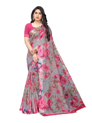 Grey printed cotton silk saree with blouse